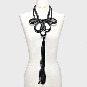 Jewelry - Long Vegan Leather Oversize Tassel Rope Necklace